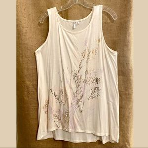 Cream tank with metallic accent